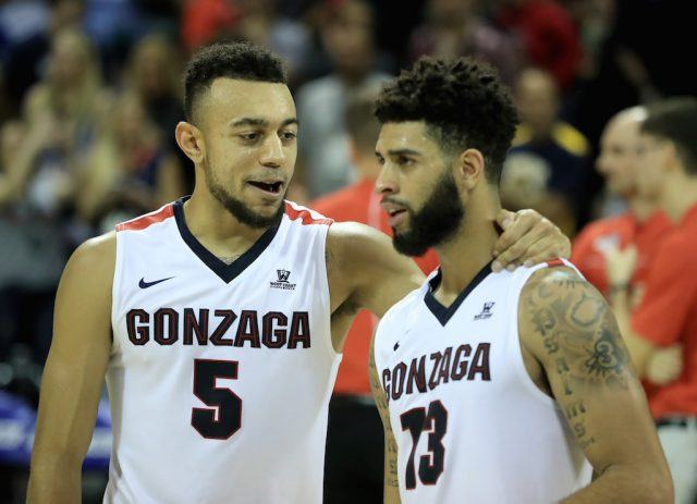 The Gonzaga Bulldogs celebrate a victory.