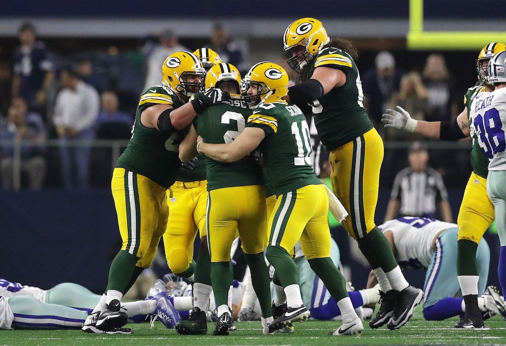 Mason Crosby of the Green Bay Packers celebrates after kicking the game-winning field goal.
