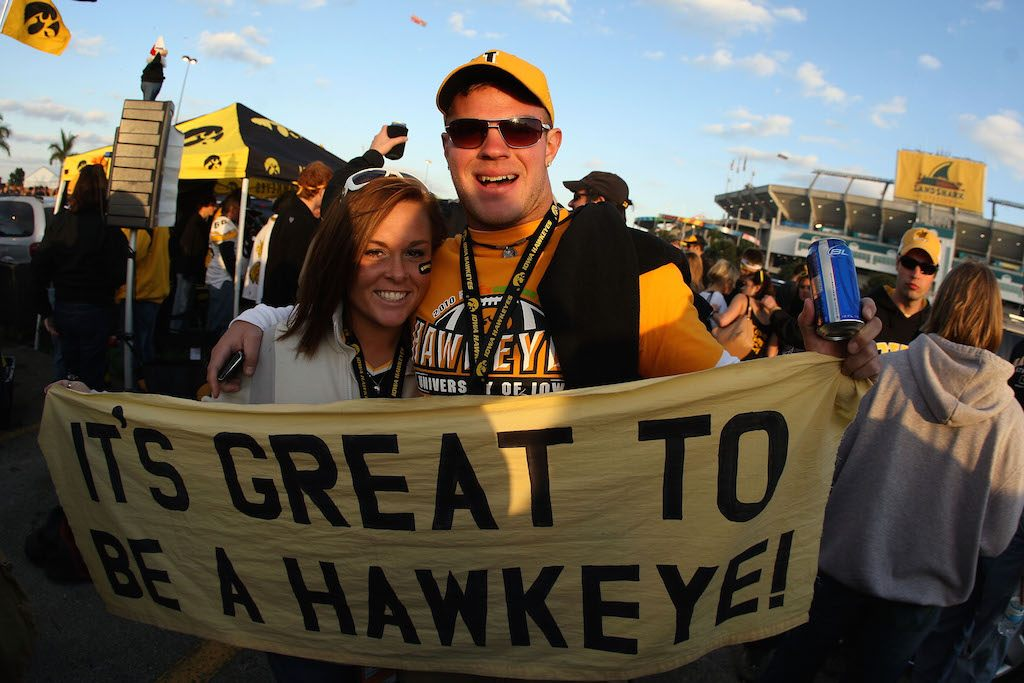 Iowa fans hold up a sign of support.