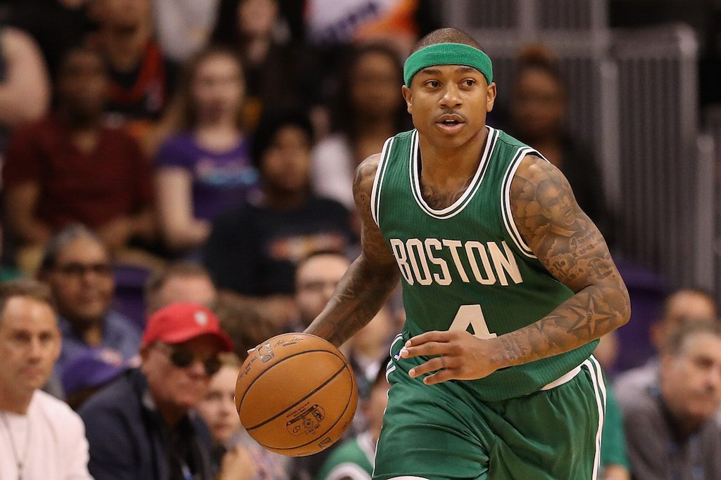 Isaiah Thomas brings up the ball.