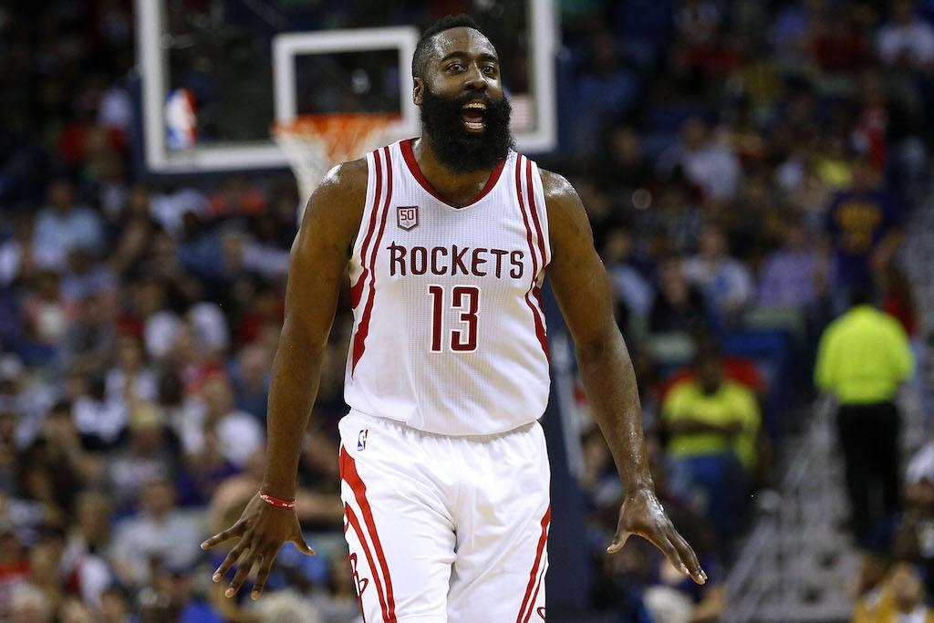 James Harden #13 of the Houston Rockets reacts during a game against the New Orleans Pelicans