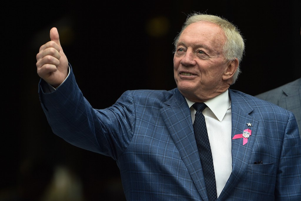 Jerry Jones of the Dallas Cowboys gives the 'thumbs up' to the fans.