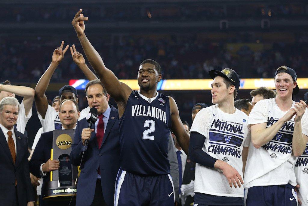 Kris Jenkins and Villanova celebrate a national championship.
