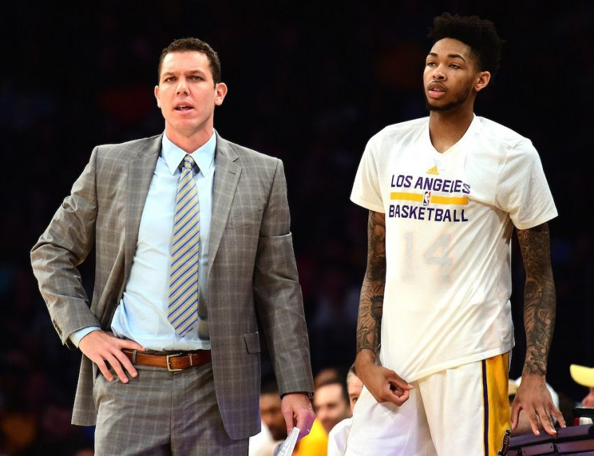 Luke Walton of the Los Angeles Lakers and Brandon Ingram look on during the game.