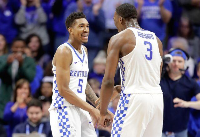 Malik Monk and Bam Adebayo of the Kentucky Wildcats celebrate.