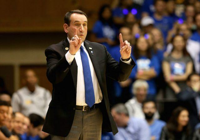 Duke's Mike Krzyzewski calls out a play.
