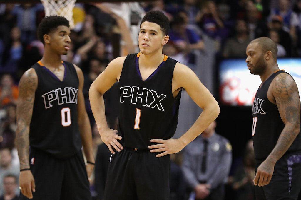 Devin Booker of the Phoenix Suns shows his dissatisfaction.