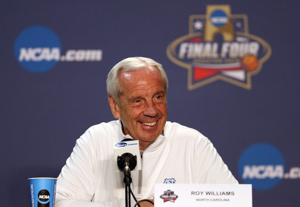UNC's Roy Williams speaks during a press conference.