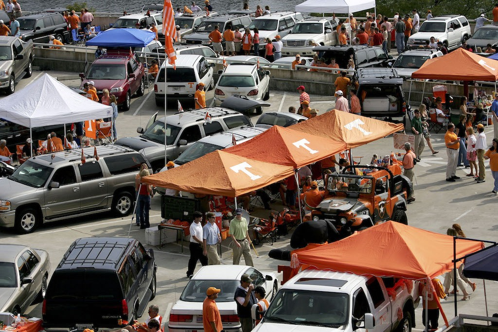 Tennessee fans tailgate outside of Neyland Stadium.