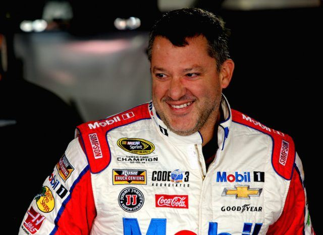 Tony Stewart looks on during practice.