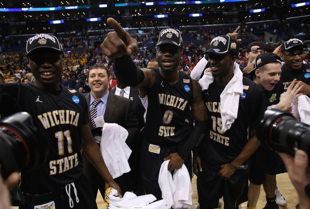 Wichita State players celebrate a berth in the Final Four.