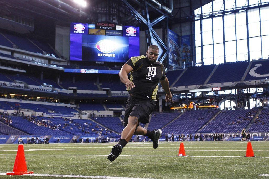 Offensive lineman Cordy Glenn of Georgia participates in a drill during the 2012 NFL Combine.