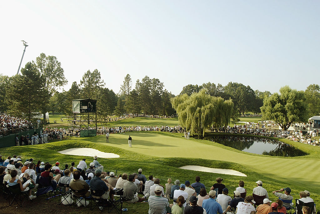 A general view of the 15th green during the third round of the 85th PGA Championship