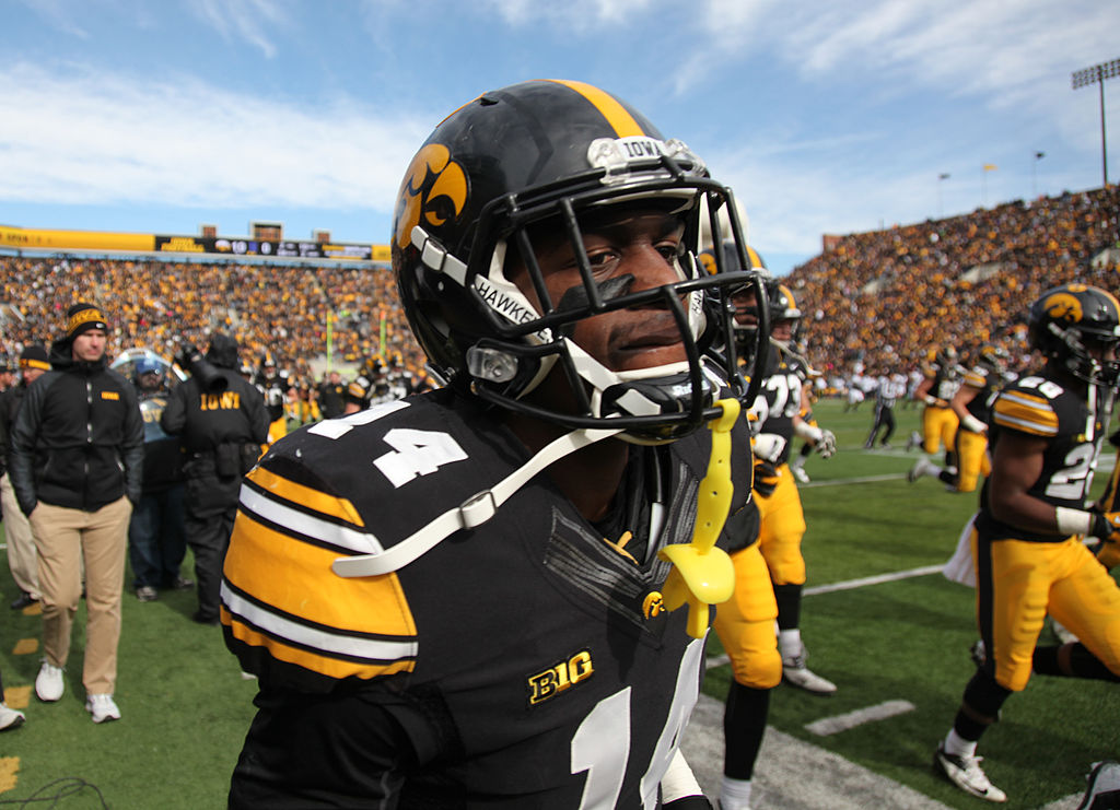 Defensive back Desmond King of the Iowa Hawkeyes heads to the locker room.