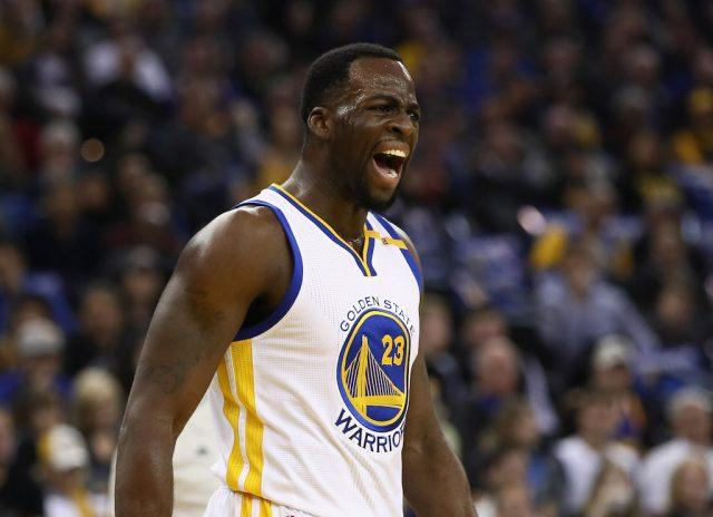 Draymond Green complains about a call.