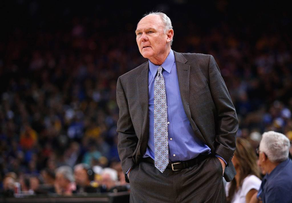 George Karl looks on during the game.