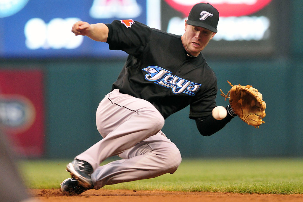 Second baseman Aaron Hill of the Toronto Blue Jays catches a ground ball.