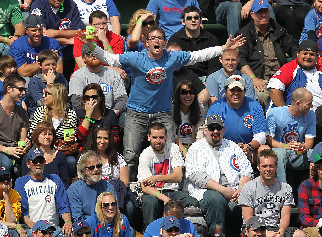 Fans of the Chicago Cubs harass Roger Bernadina of the Washington Nationals.