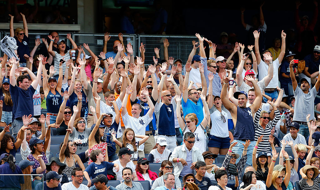 "New York Yankees fans doing the ""wave"" during a game against the Tampa Bay Rays."