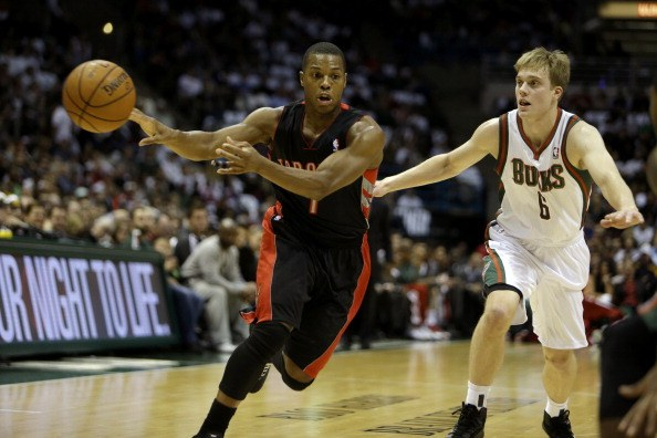 Kyle Lowry of the Toronto Raptors passes the basketball during a game against the Milwaukee Bucks.