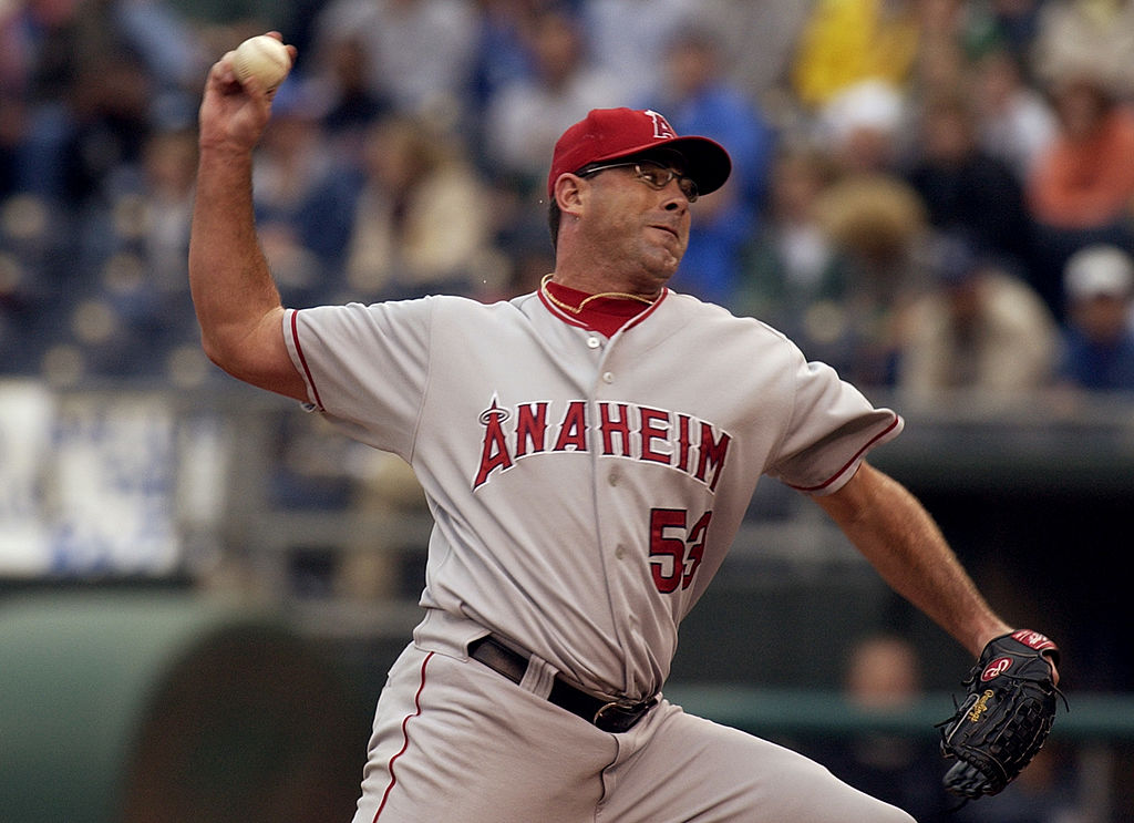 Brendan Donnelly of the Anaheim Angels throws against the Kansas City Royals.
