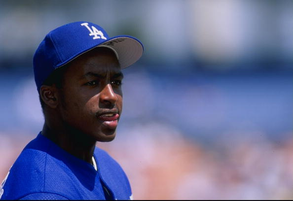 Infielder Wilton Guerrero of the Los Angeles Dodgers watches the action.