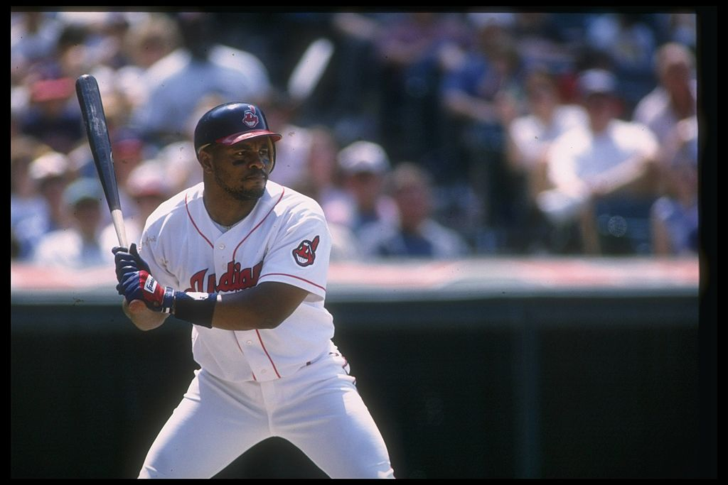 Outfielder Albert Belle of the Cleveland Indians prepares to swing.