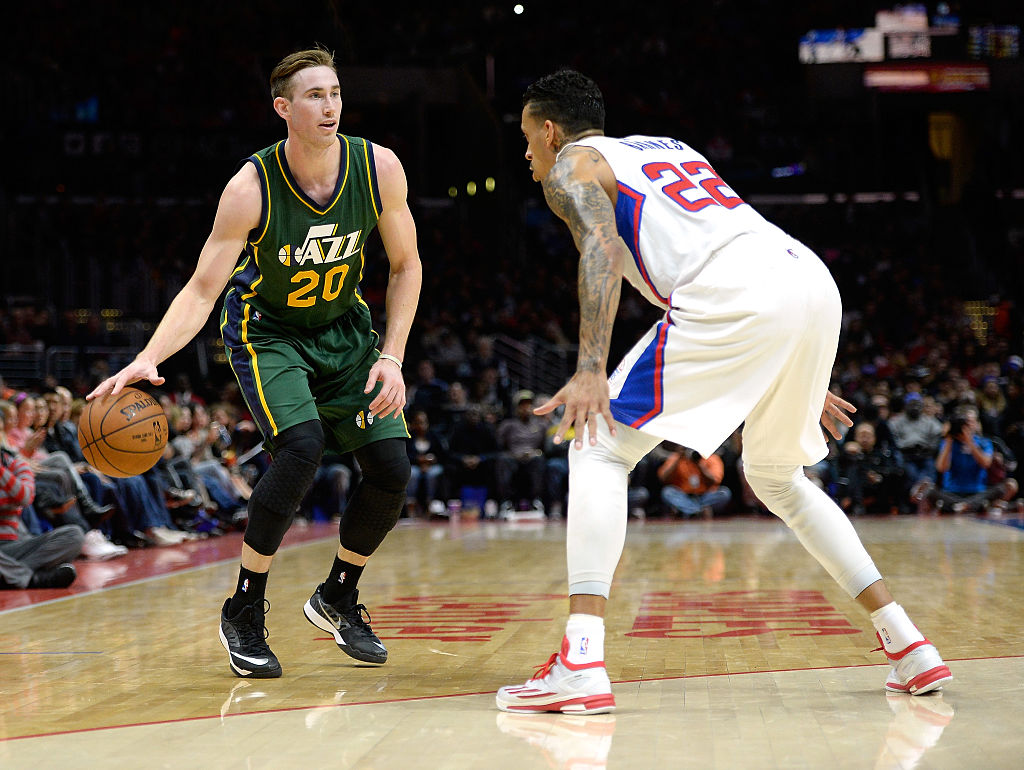 Gordon Hayward of the Utah Jazz prepares to pass against the Los Angeles Clippers.