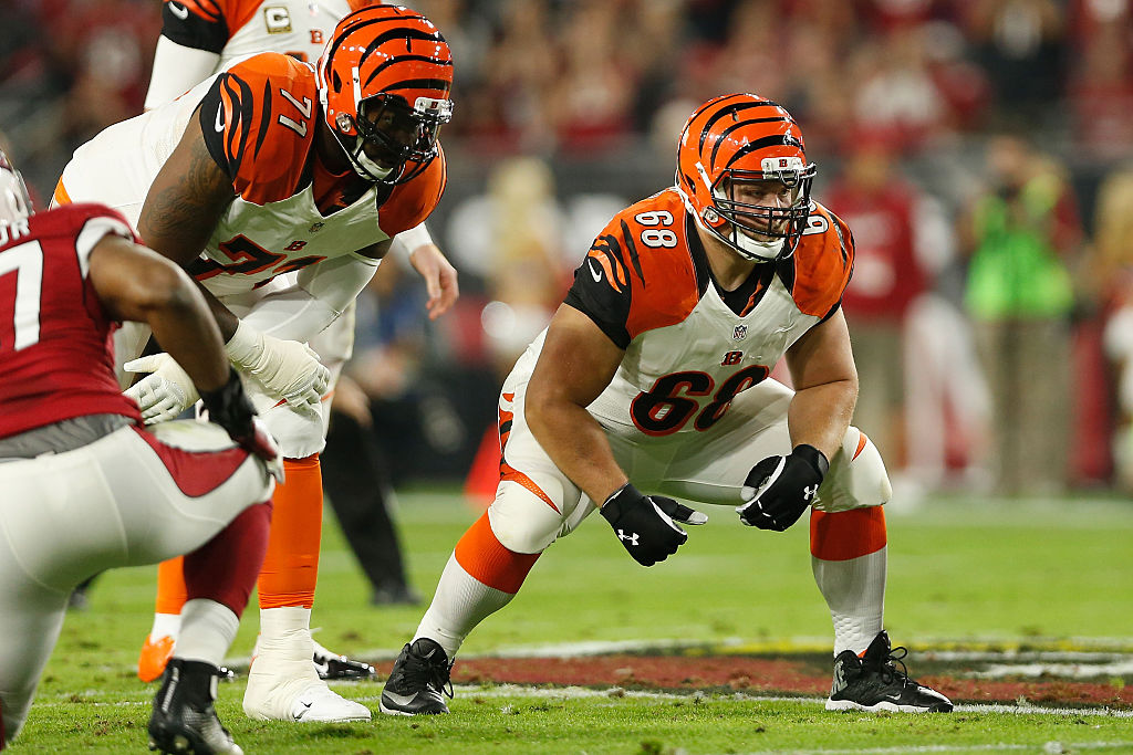 Guard Kevin Zeitler of the Cincinnati Bengals is ready for action.