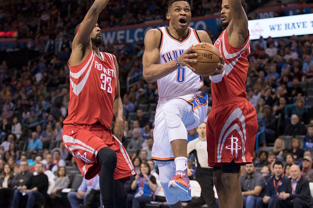 Russell Westbrook of the Oklahoma City Thunder goes to the basket.