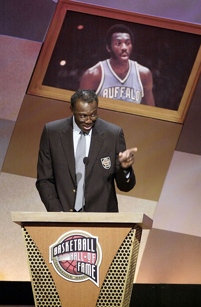 NBA basketball star Bob McAdoo speaks after being inducted into the Basketball Hall of Fame.