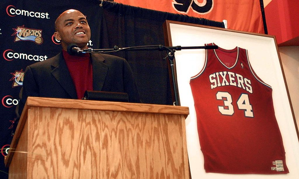 Charles Barkley answers a reporter's question during a press conference.