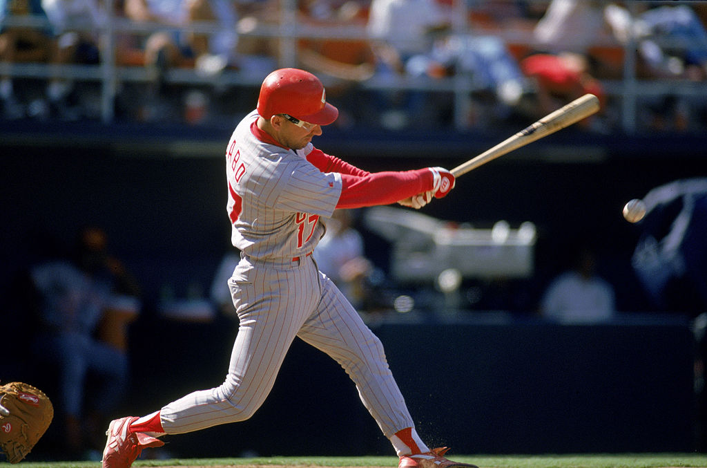Chris Sabo of the Cincinnati Reds hits the ball.