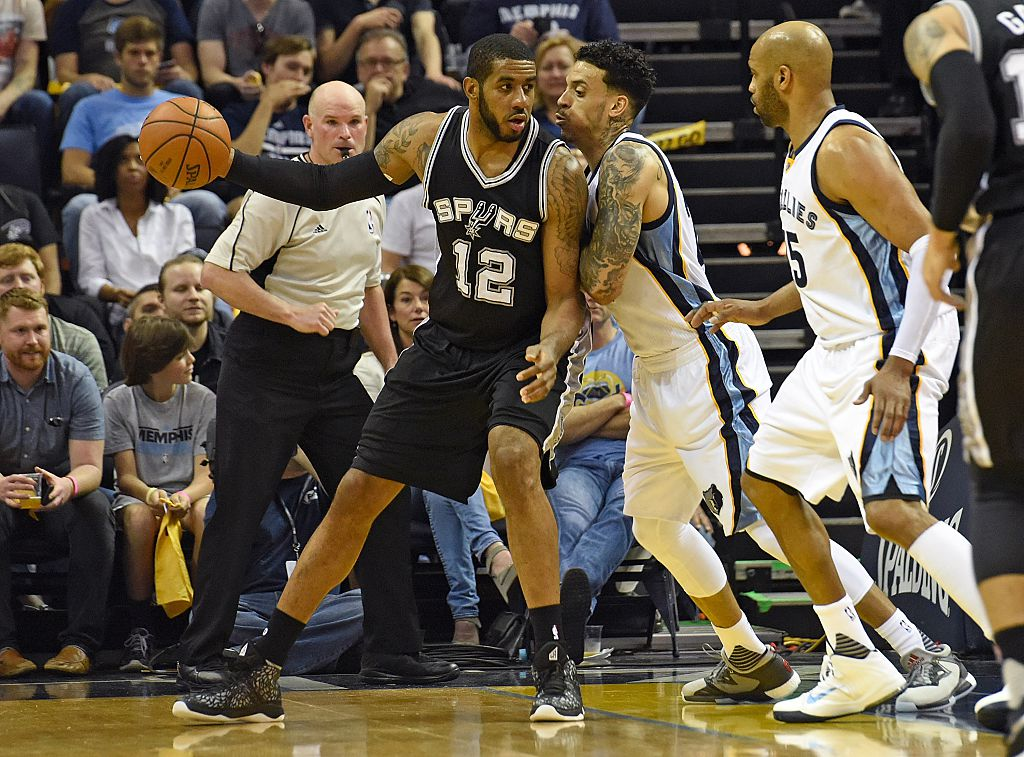 LaMarcus Aldridge of goes to work against the Grizzlies.