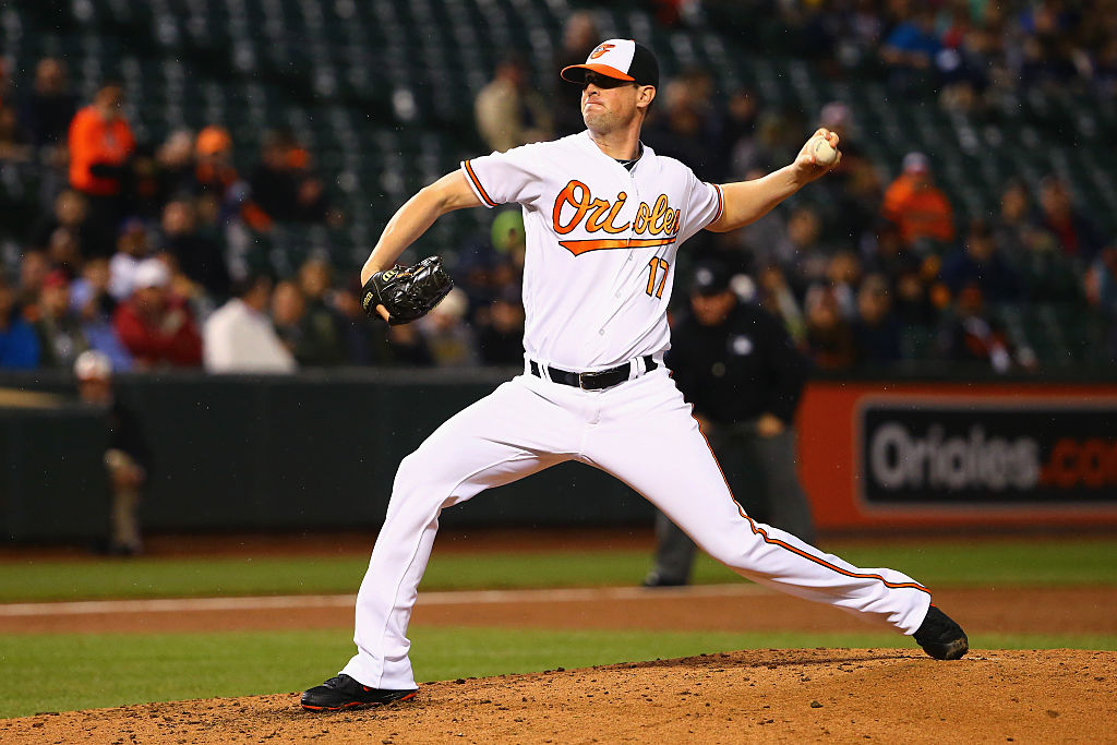 Brian Matusz of the Baltimore Orioles pitches against the Seattle Mariners.