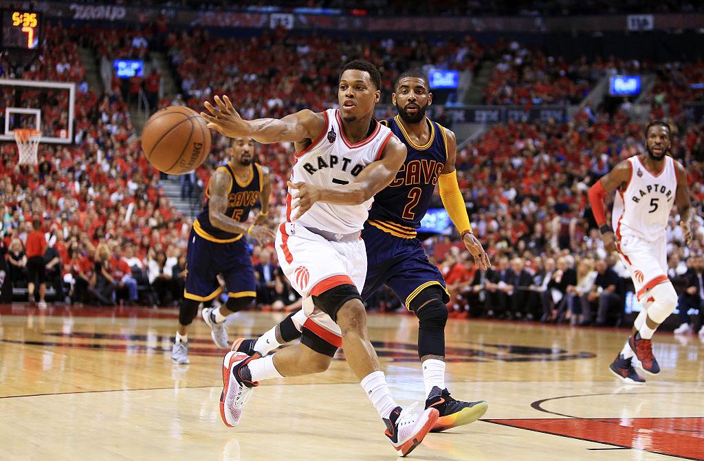Kyle Lowry of the Toronto Raptors kicks to the corner for a three-pointer.