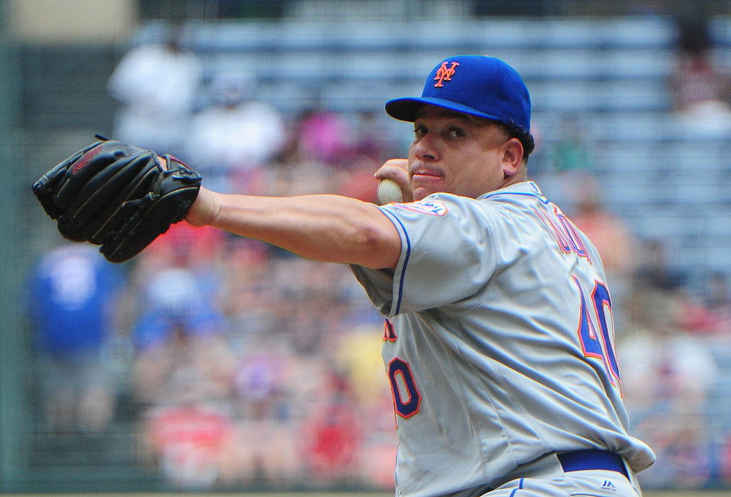 Bartolo Colon of the New York Mets throws a first-inning pitch.