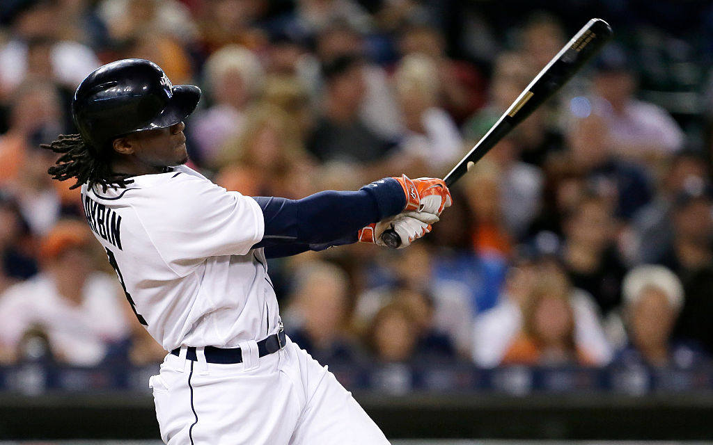 Cameron Maybin of the Detroit Tigers hits a two-run home run.