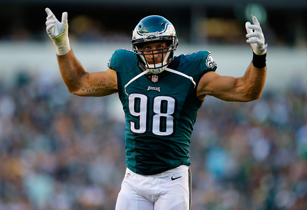 Connor Barwin of the Philadelphia Eagles celebrates a big play