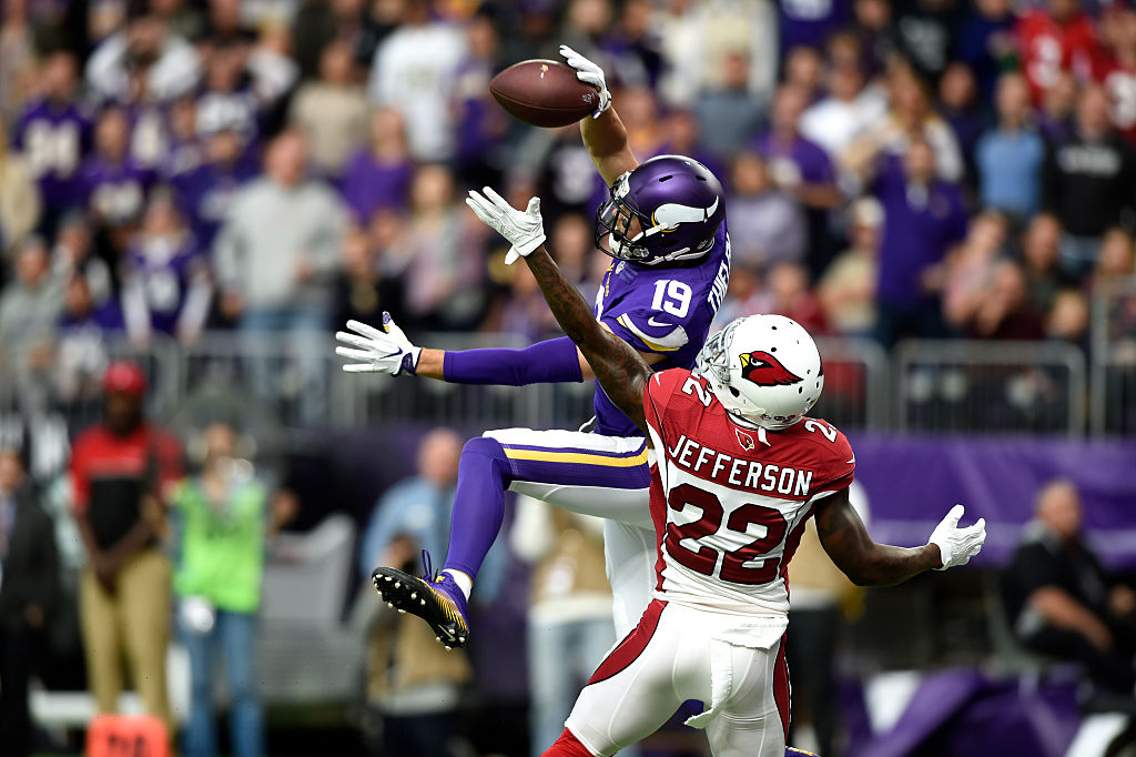 Tony Jefferson defends against the Minnesota Vikings