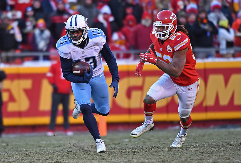 Wide receiver Kendall Wright of the Tennessee Titans rushes up field after catching a pass