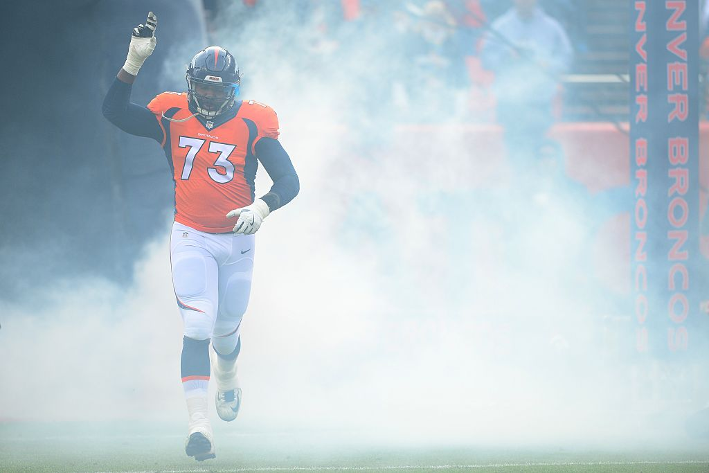 Offensive tackle Russell Okung of the Denver Broncos is introduced in their game against the Oakland Raiders.