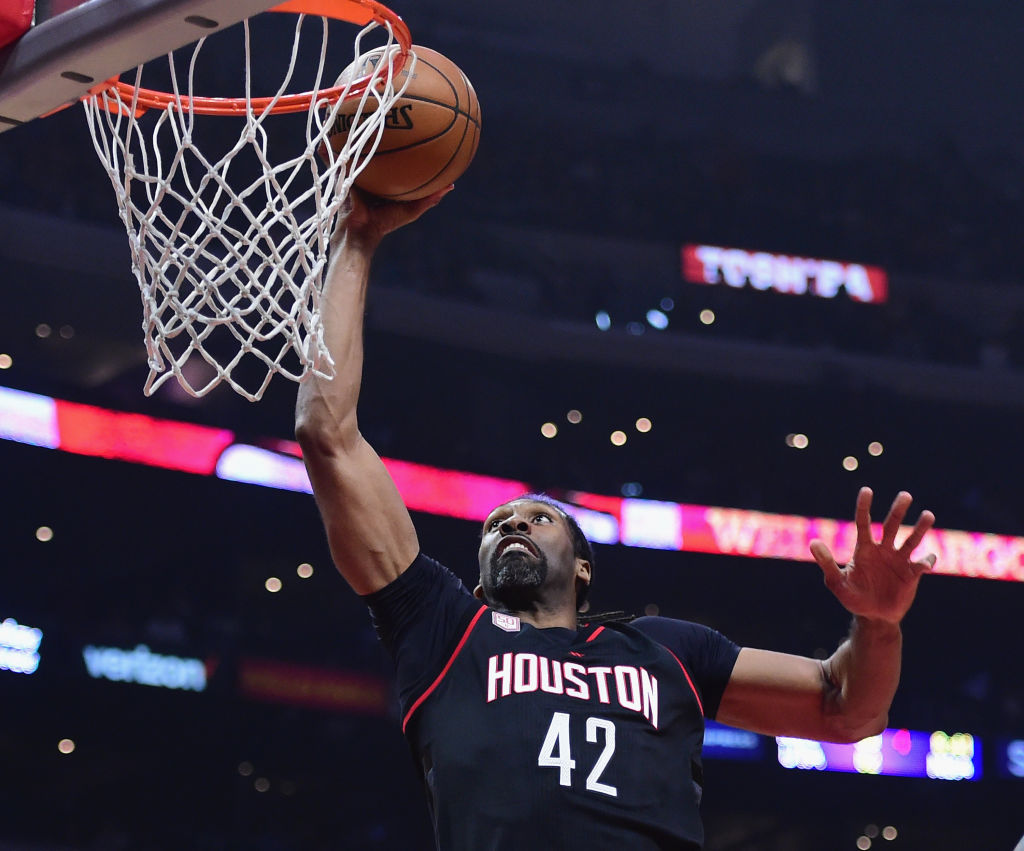 Nene of the Houston Rockets dunks during the first half against the LA Clippers.