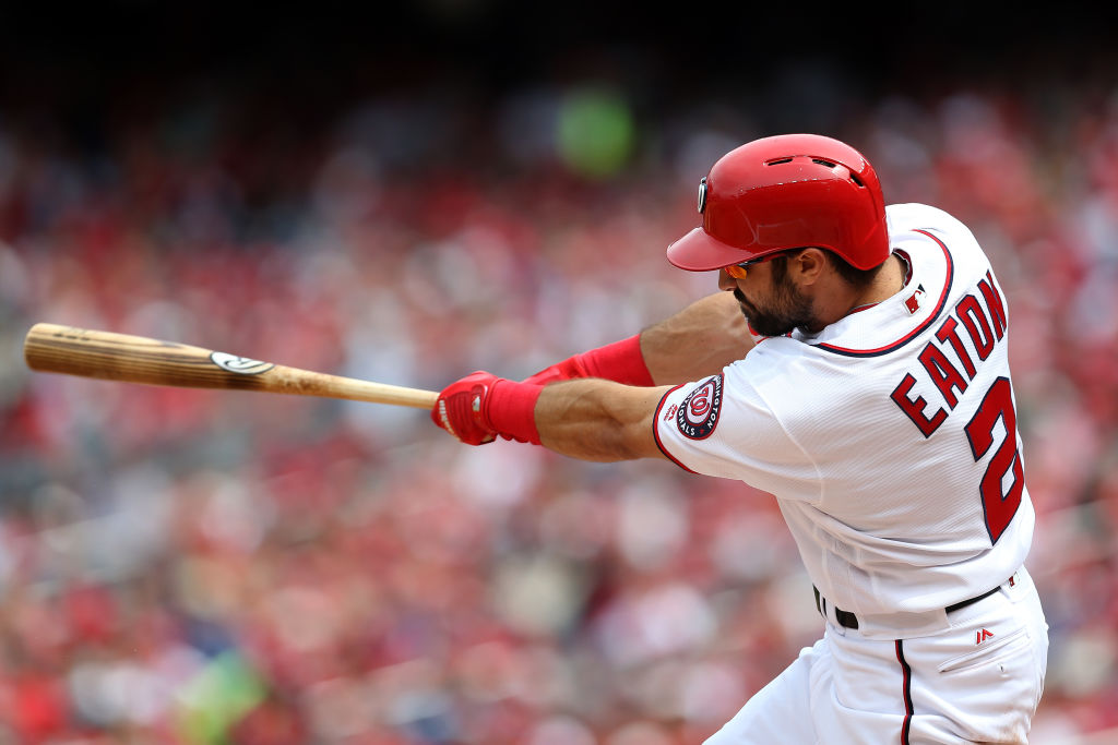 Adam Eaton takes a swing for the Washington Nationals.