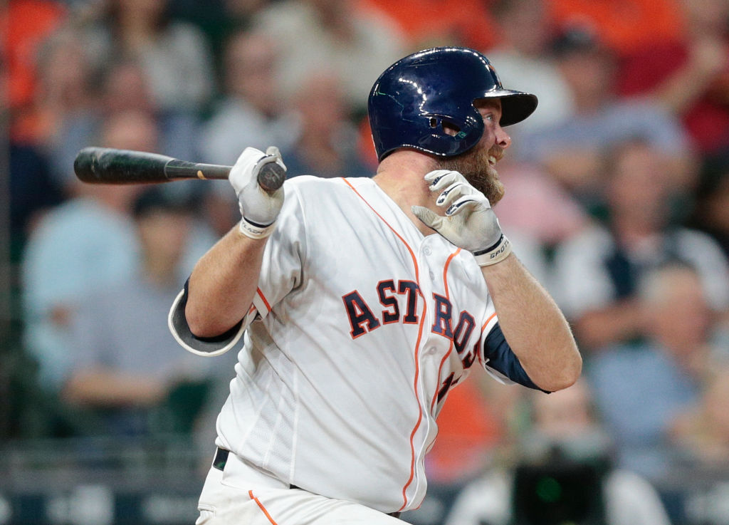Brian McCann of the Houston Astros hits a home run.