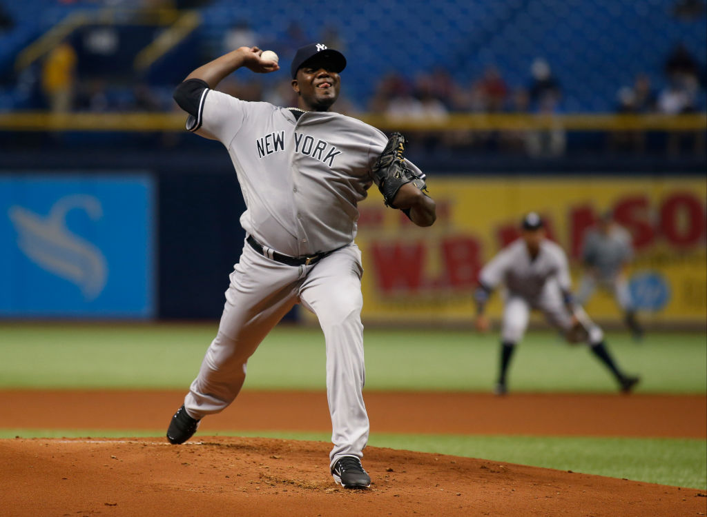 Michael Pineda of the New York Yankees pitches against the Tampa Bay Rays.