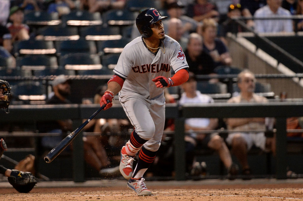 Francisco Lindor of the Cleveland Indians doubles in the sixth inning against the Arizona Diamondbacks.