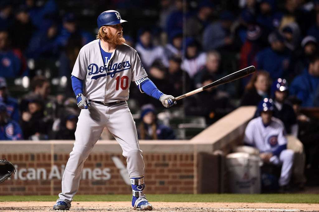 Justin Turner of the Los Angeles Dodgers waits for a pitch.