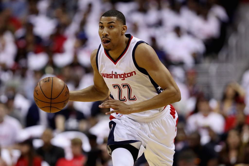 Otto Porter Jr. of the Washington Wizards dribbles the ball against the Atlanta Hawks.