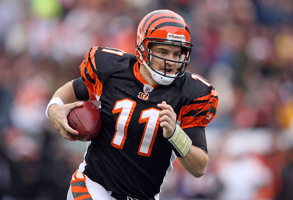 Ryan Fitzpatrick, formerly of the Cincinnati Bengals, runs with the ball.